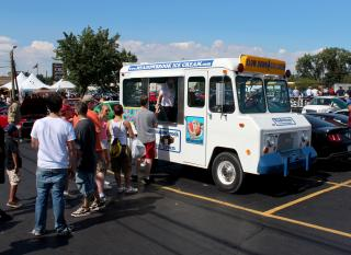 Serving ice cream on a vintage ice cream truck
