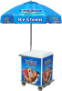customer pickup ice cream cart with umbrella